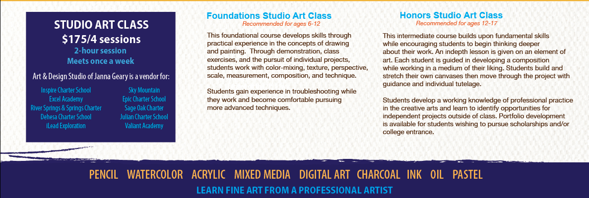 Class descriptions for Art & Design Studio of Janna Geary