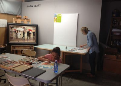 Students in the studio at Art & Design Studio of Janna Geary